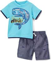 Nannette Kids Boys' Casual Shorts BLUE - Blue Whale 'Ahoy' Tee & Gray Whale Shorts - Infant