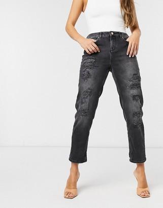 Ted Baker Hettey studded boyfriend jeans in black