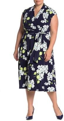 London Times Floral Faux Wrap Midi Dress (Plus Size)