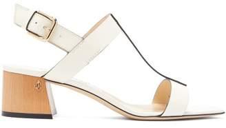 Jimmy Choo Jin 45 Square-toe Leather Sandals - Womens - White