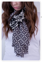 Brocade Print Wool Scarf in Black and White