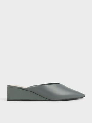 Charles & Keith Textured Pointed Toe Wedge Heel Mules