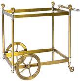 """Jonathan Adler Antiqued Brass Bar Cart """"Cheval"""""""