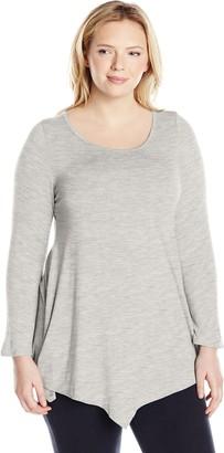 Star Vixen Women's Plus-Size Scoop Neck Long Sleeve Handkerchief Hem Comfy Knit Tunic Top