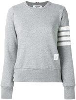 Thom Browne striped sleeve sweatshirt - women - Cotton - 38