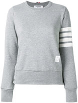 Thom Browne striped sleeve sweatshirt - women - Cotton - 48