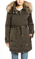 Trina Turk Women's 'Jeri' Belted Down Parka With Genuine Fox Or Coyote Fur Trim