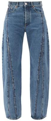 Vetements Raw-edge Panelled Straight-leg Jeans - Denim