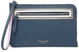 Kate Spade Leather Reiley Shadow Anchor Medium L-Zip Wristlet Wallet