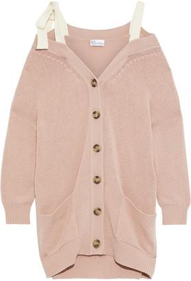 RED Valentino Cold-shoulder Bow-detailed Wool Cardigan
