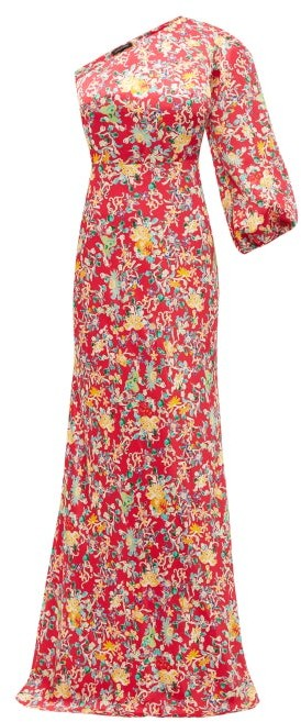 Saloni Lily One Shoulder Floral Print Silk Dress - Womens - Red Multi