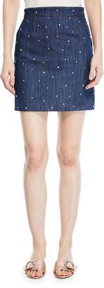 Miu Miu Crystal-Studded Denim Mini Skirt