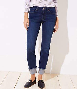 LOFT Petite Modern Flip Cuff Straight Leg Jeans in Dark Indigo Wash