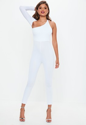 Missguided White One Sleeve Jumpsuit