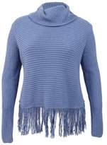 MICHAEL Michael Kors Women's Fringe Turtleneck Sweater (XL, Cadet)