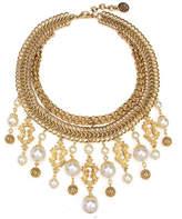 Ben-Amun Golden Chain Multi-Drop Pearly Bib Necklace