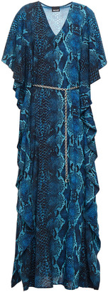 Just Cavalli Belted Draped Snake-print Woven Maxi Dress