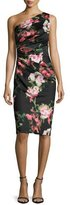 David Meister One-Shoulder Floral Jersey Cocktail Dress, Black/Pink