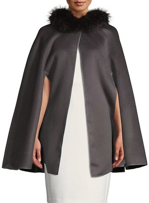 Wolfie Fur Made For Generation 800GM Fox Fur-Trim Wool Cape