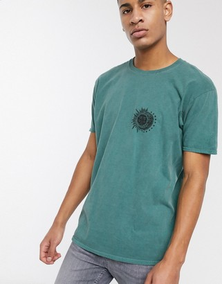 New Look sun print oversized t-shirt in dark green