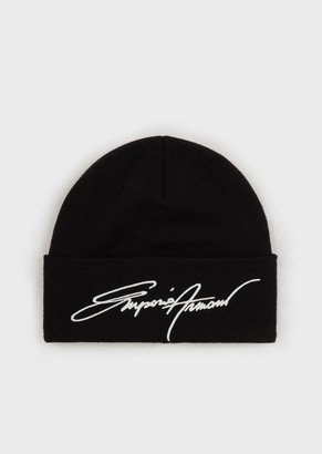 Emporio Armani Mixed-Wool Beanie With Embroidered Signature Logo