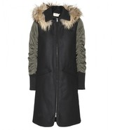 Marni Edition Wool-blend coat with fur-trimmed hood