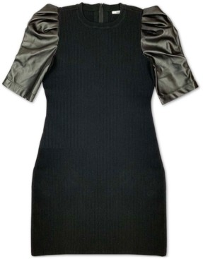 Bar III Faux-Leather-Contrast Sweater Dress, Created for Macy's