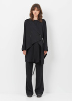 Ann Demeulemeester lightlaine black deconstructed long coat