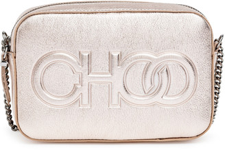 Jimmy Choo Platinum metallic nappa leather embossed logo camera bag