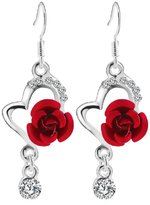Coromose Big Diamond Pendant Fashion Long Earrings Rose Earrings