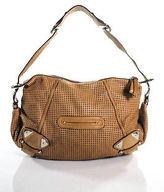 B. Makowsky Cognac Brown Leather Perforated Silver Detail Medium Shoulder Handbag