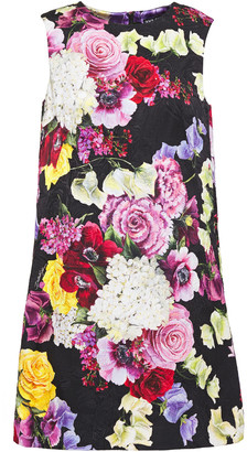 Dolce & Gabbana Cotton-blend Floral-jacquard Mini Dress