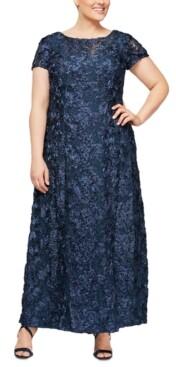 Alex Evenings Plus Size Rosette Gown