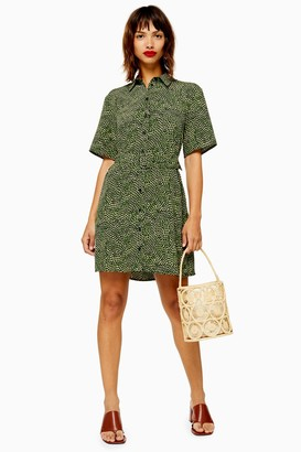 Topshop Womens Khaki Belted Mini Dress - Green