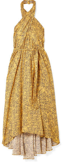 Apiece Apart Wassily Printed Cotton-blend Voile Halterneck Dress - Yellow