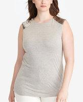 Lauren Ralph Lauren Plus Size Beaded Cap-Sleeve Top