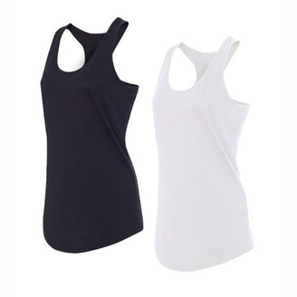 Glass House Apparel Women's Athletic Racerback Tank Top Performance Sport Active Yoga Compression Running Shirt, 2 Pack (Black & White)