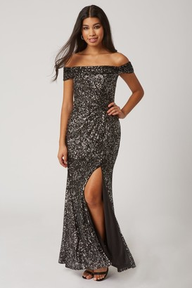 Little Mistress Onyx Black Sequin Bardot Maxi Dress