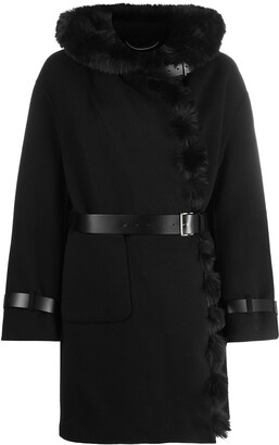 Ermanno Scervino Faux Fur Trim Hooded Coat