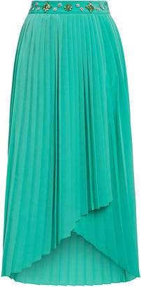 Maje Jipy Pleated Crystal-embellished Crepe Midi Skirt