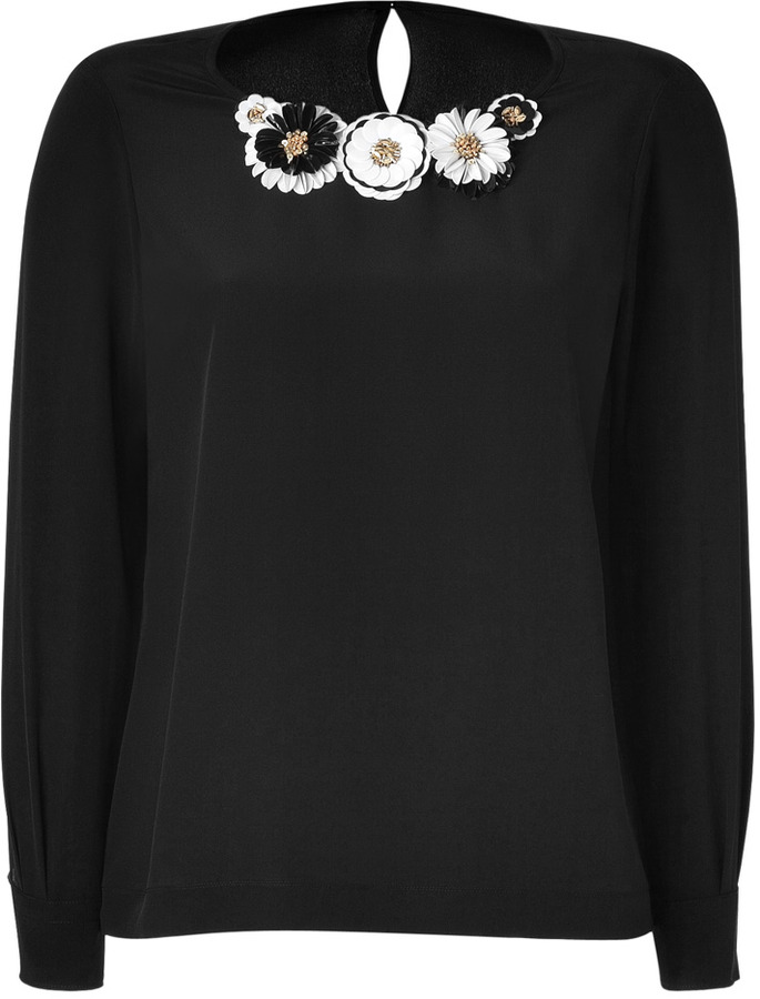 Moschino Black Textural Flower Embellished Silk Top