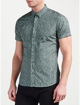 J. Lindeberg Daniel Soft Print Short Sleeve Shirt, Dusty Green