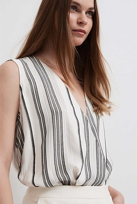 Witchery Stripe Sleeveless Wrap Blouse