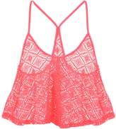 Jane Norman Peach Crochet Swing top