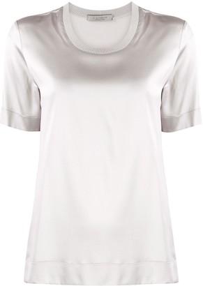 D-Exterior round neck silk T-shirt