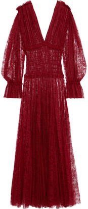 KHAITE Dawny Shirred Pleated Chantilly Lace Maxi Dress