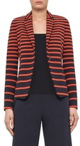 Akris Punto Women's Leather Trim Stripe Blazer