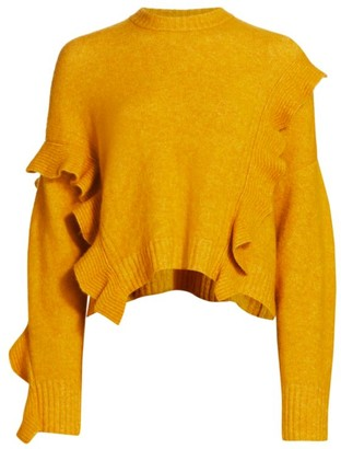 3.1 Phillip Lim Loft Crop Ruffle Wool & Alpaca-Blend Sweater