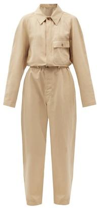 Lemaire Belted Cotton-blend Straight-leg Jumpsuit - Beige