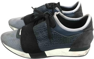 Balenciaga Race Anthracite Leather Trainers